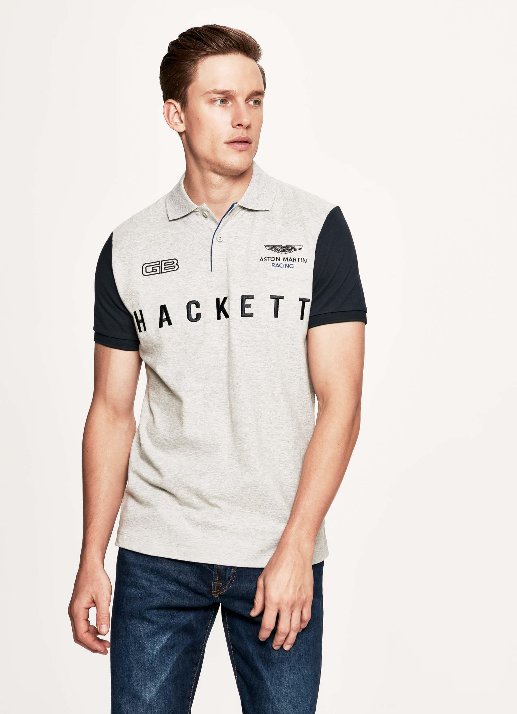 aston martin racing men's solid colour short-sleeve polo cotton shirt | small | grey/navy