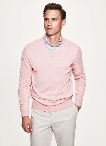 370ace84bc Cotton and cashmere V-neck sweater, SOFT PINK, large