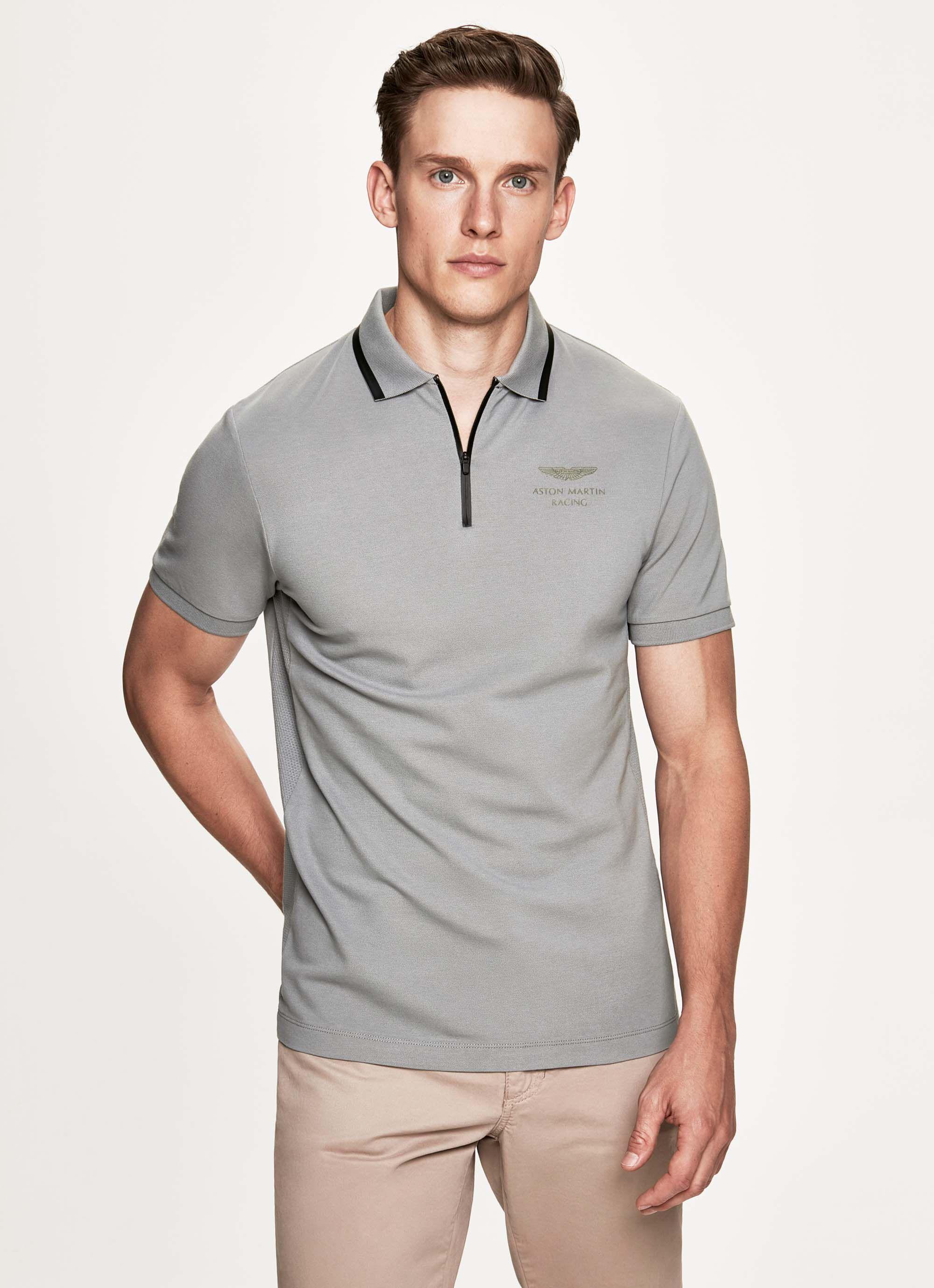 aston martin racing pro men's stretch cotton half zip short-sleeved polo shirt | small | grey