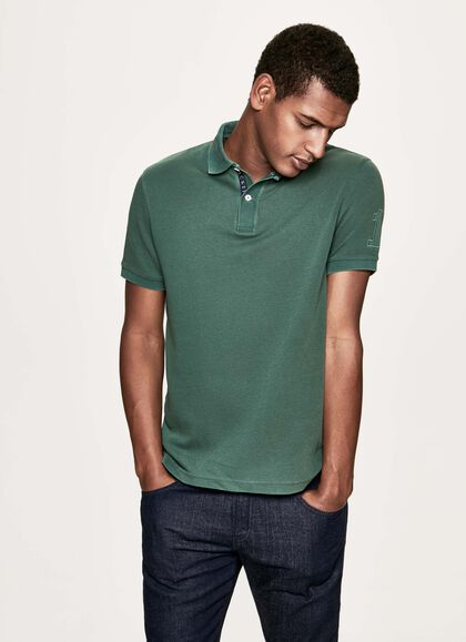 61027cd2f298 Garment-dyed cotton short-sleeved polo shirt, FOREST GREEN, large