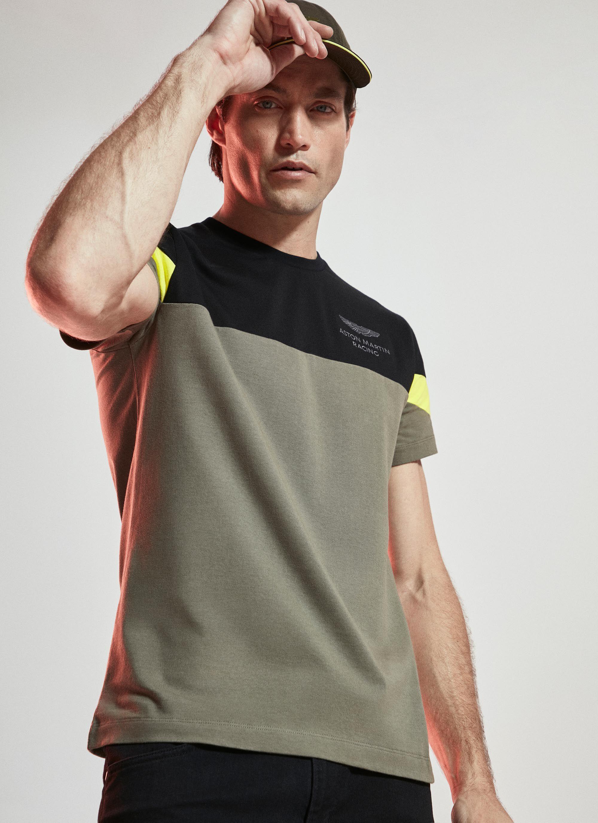 aston martin racing men's sleeve stripe detail cotton jersey t-shirt | x-small | black/green