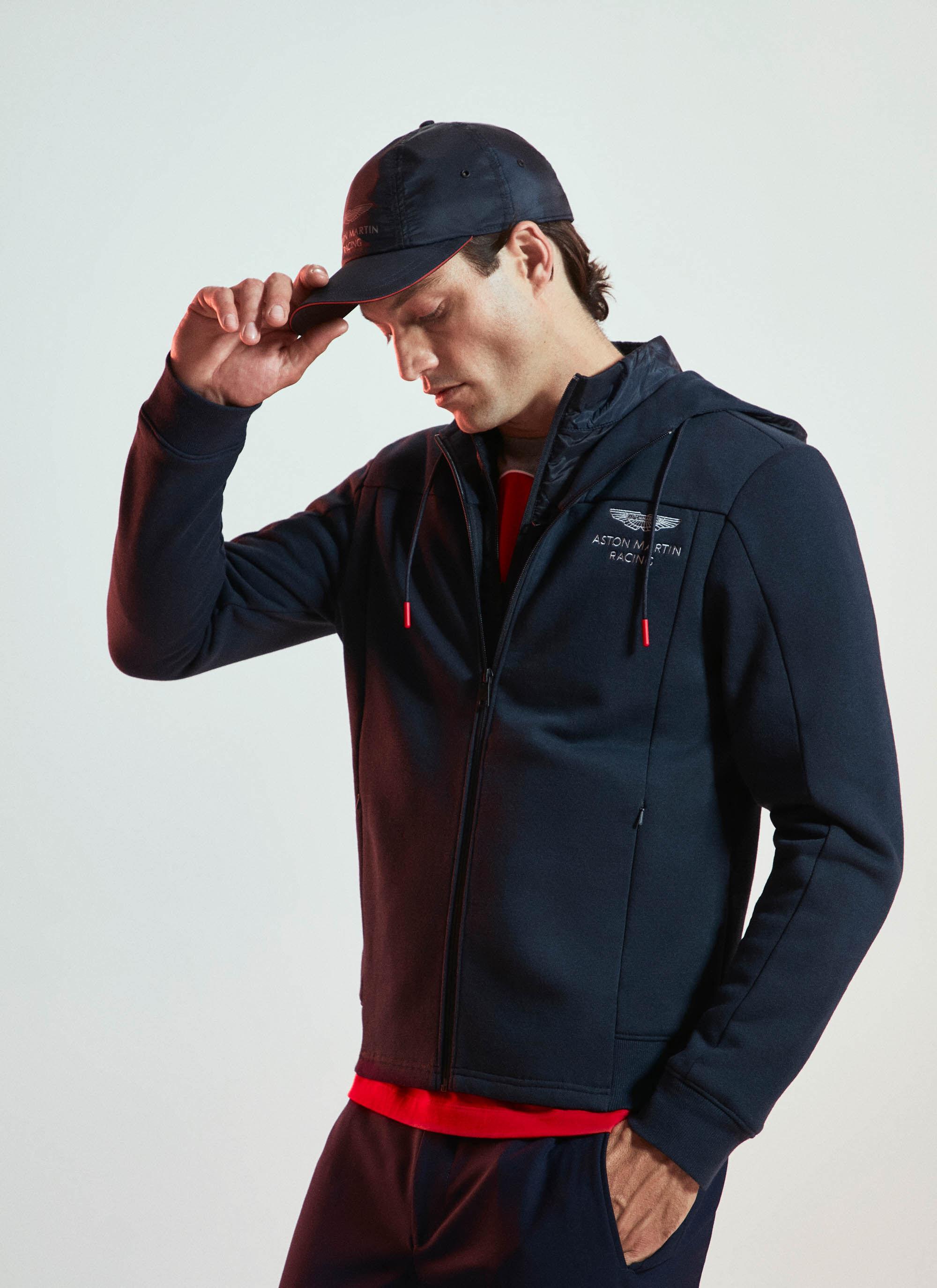 aston martin racing men's cotton blend zipped hybrid hoodie | large | navy