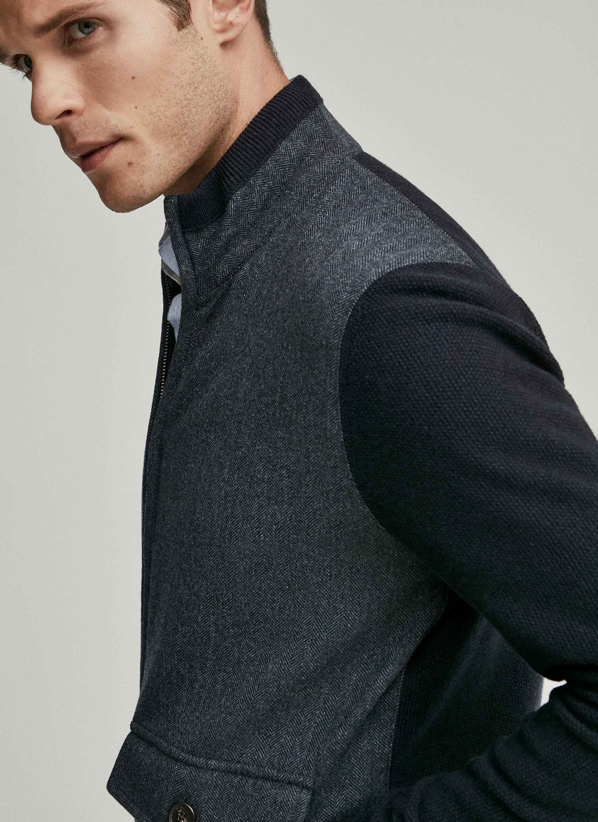 Tweed front merino wool zipped sweater   Hackett