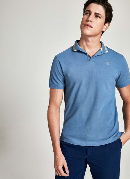 d13cb7fe Collar stripe detail cotton short-sleeved polo shirt, MOONLT BLU, large