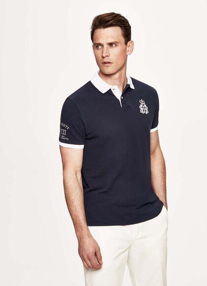 895e4a30f Printed cotton-piqué polo shirt, NAVY, large