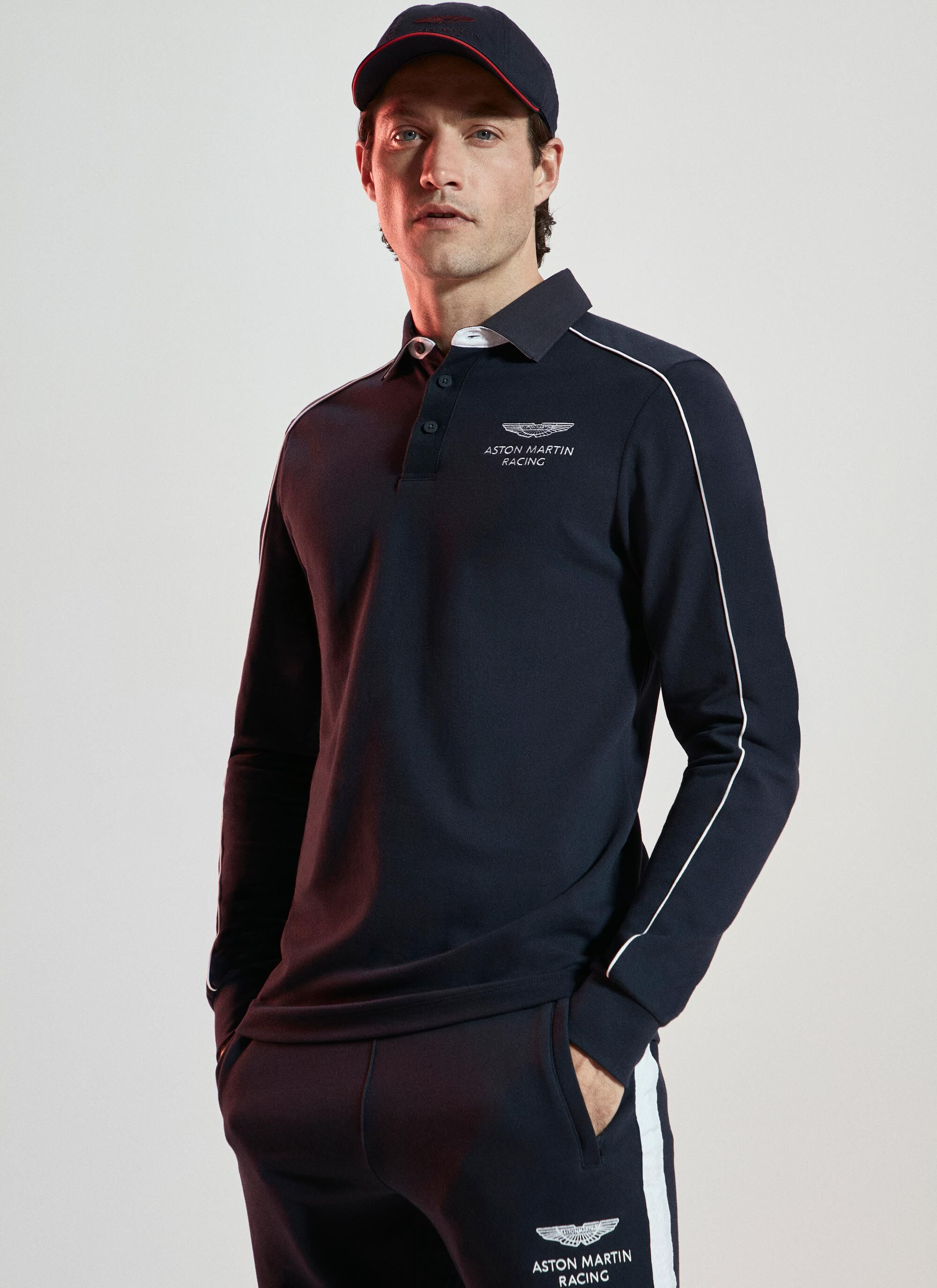 aston martin racing men's piped seam detail stretch cotton long-sleeved polo shirt | medium | navy