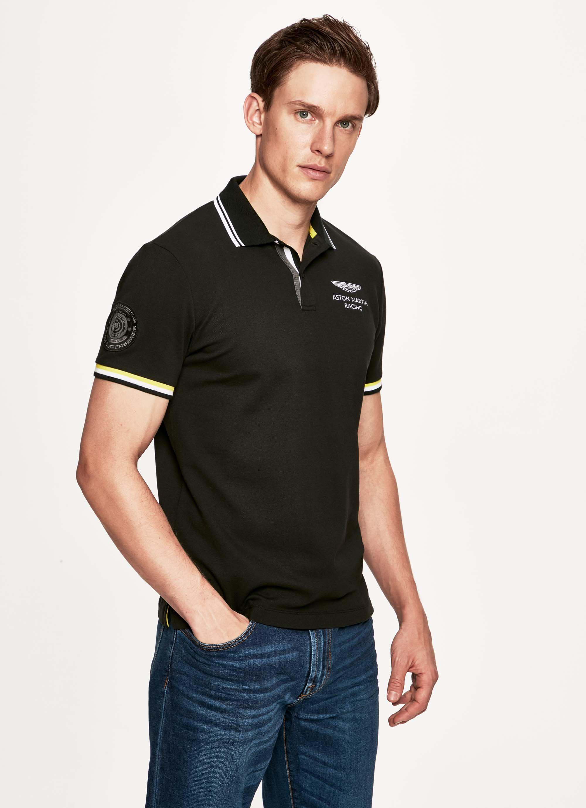 aston martin racing men's striped trim detail stretch cotton short-sleeved polo shirt | x-small | black