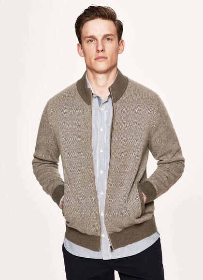 9aecf282055feb Herringbone jacquard wool blend full zip sweater, BONE, large