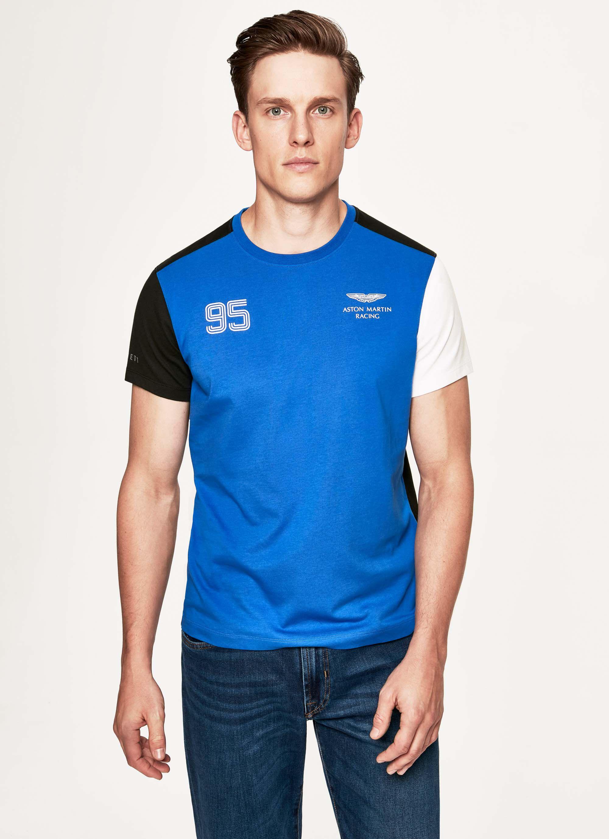 aston martin racing men's multi-coloured cotton t-shirt | large | blue