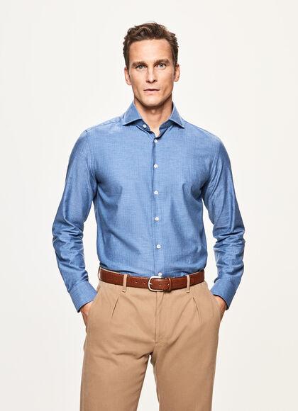 Slim Fit Flannel Shirt, BLUE, large