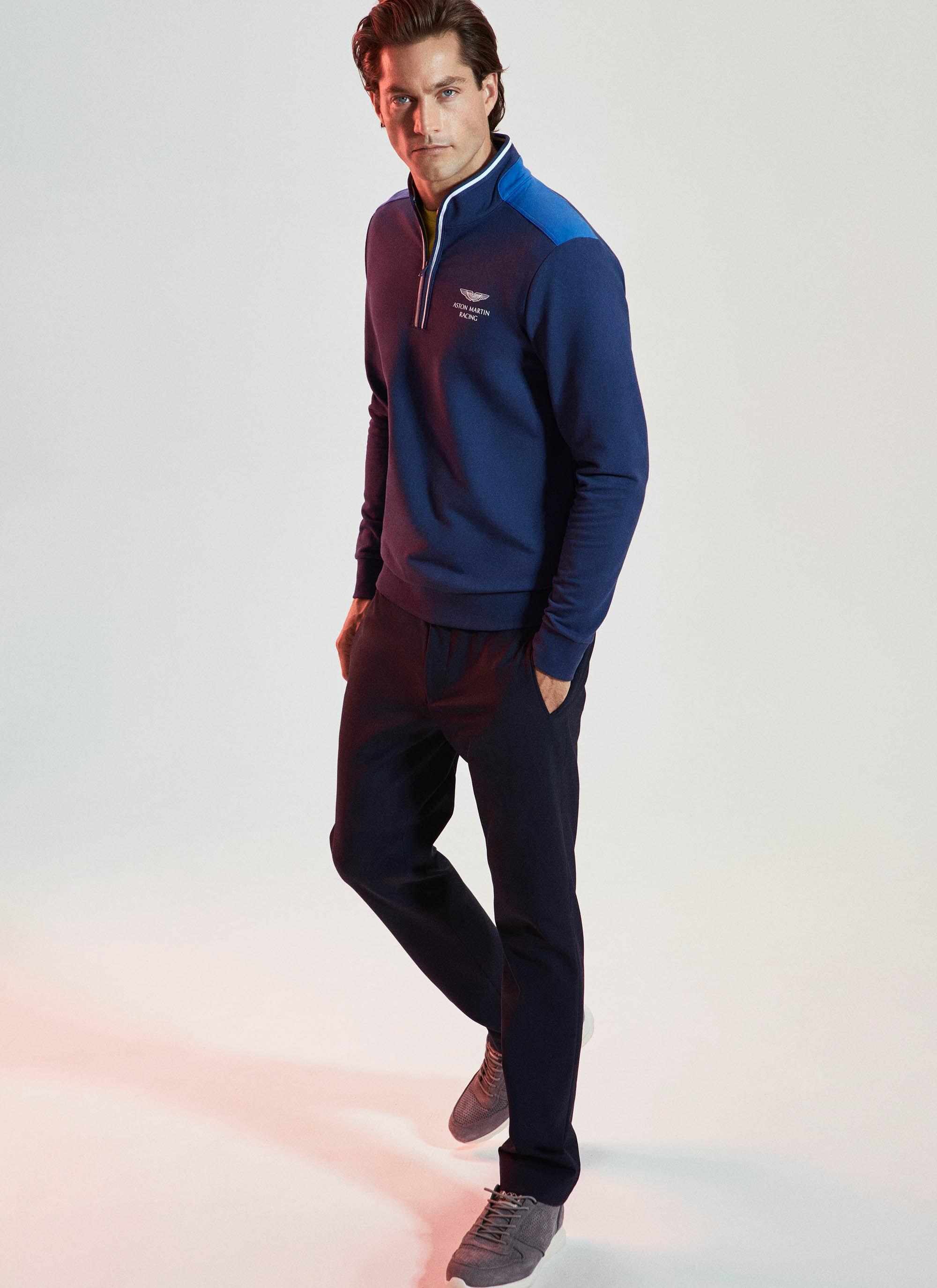 aston martin racing men's stretch cotton half zip sweater | x-small | dark blue