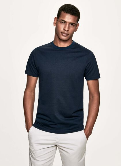 07065c18f Stretch cotton and linen blend t-shirt, NAVY, large