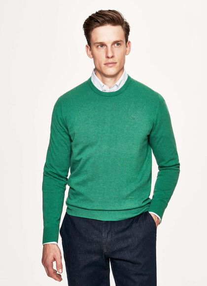 ec4bac893f1848 Cotton and silk crew neck sweater, LEAF GREEN, large. Hackett London