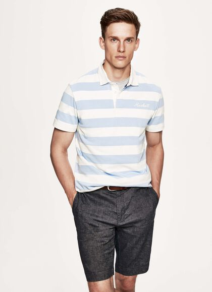 5f85f64e Striped cotton rugby shirt, SKY/WHITE, large. Hackett London