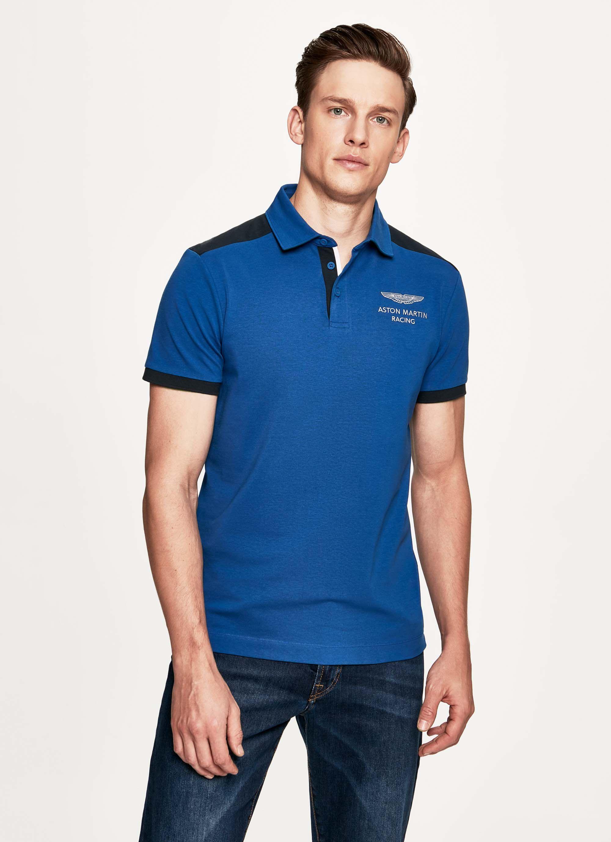 aston martin racing men's short-sleeve polo cotton shirt | small | middle blue