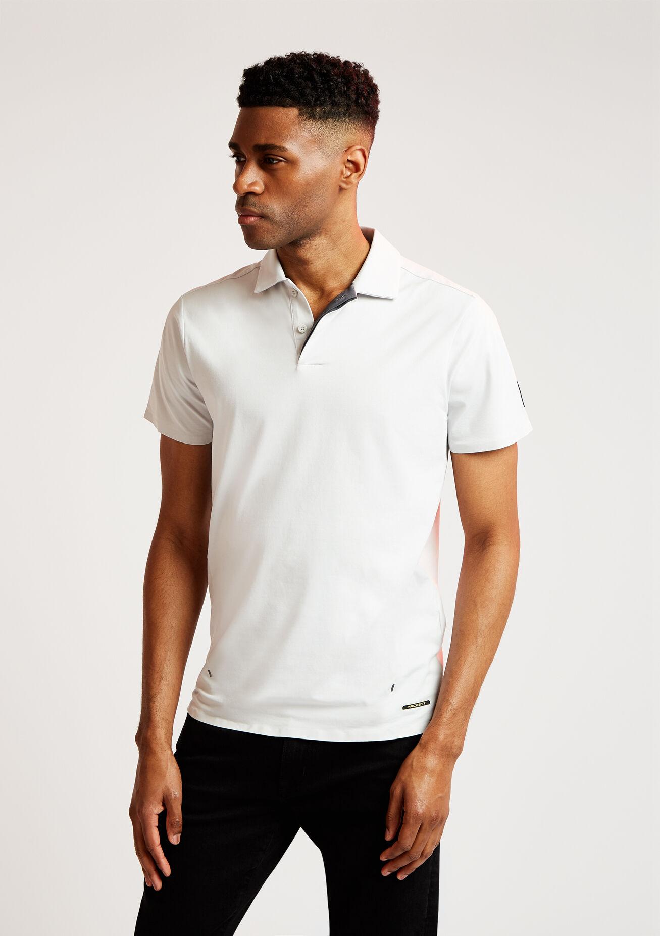 aston martin pro men's jersey polo cotton shirt | large | antarctica