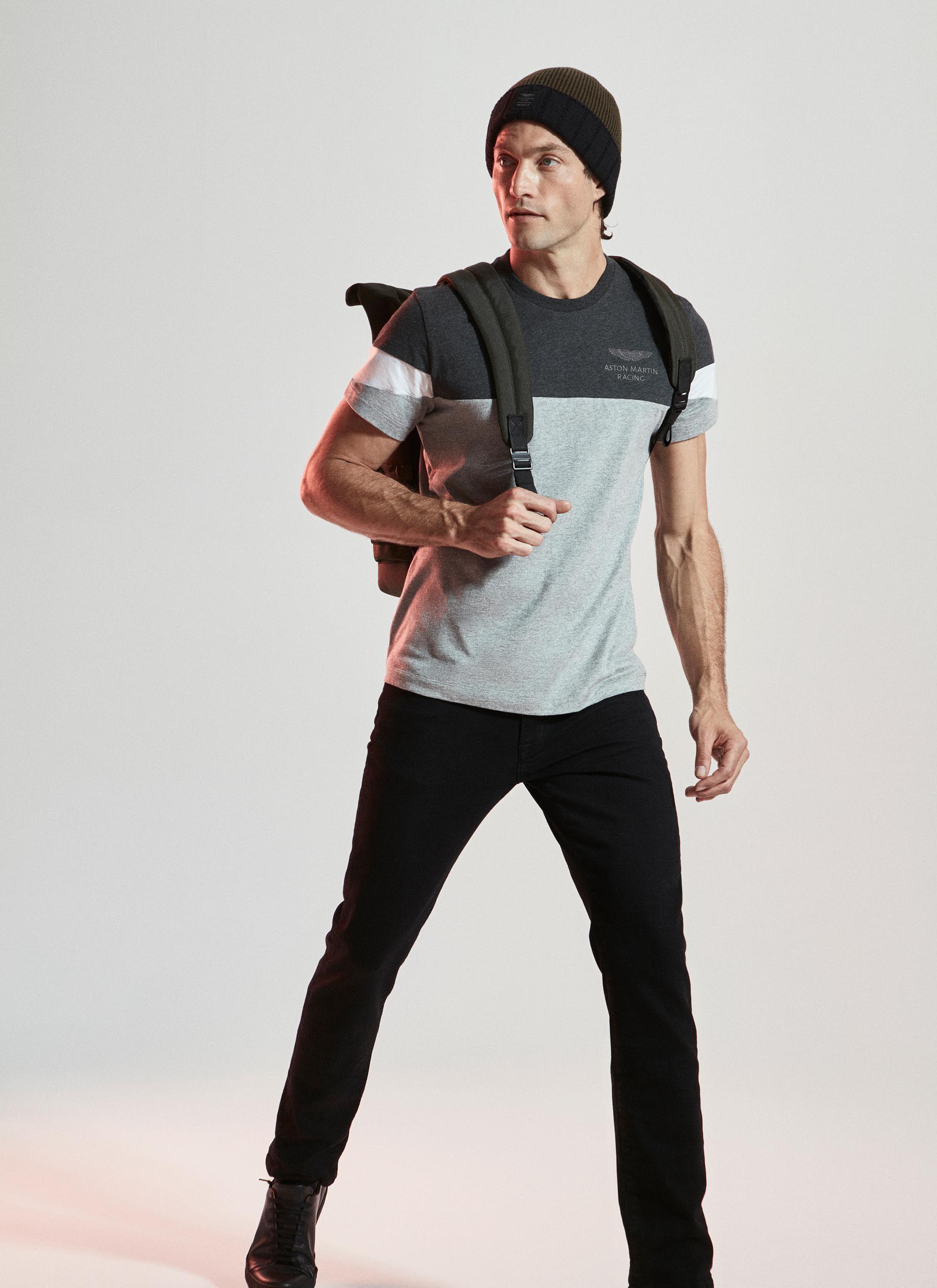 aston martin racing men's sleeve stripe detail cotton jersey t-shirt | large | charcoal/grey