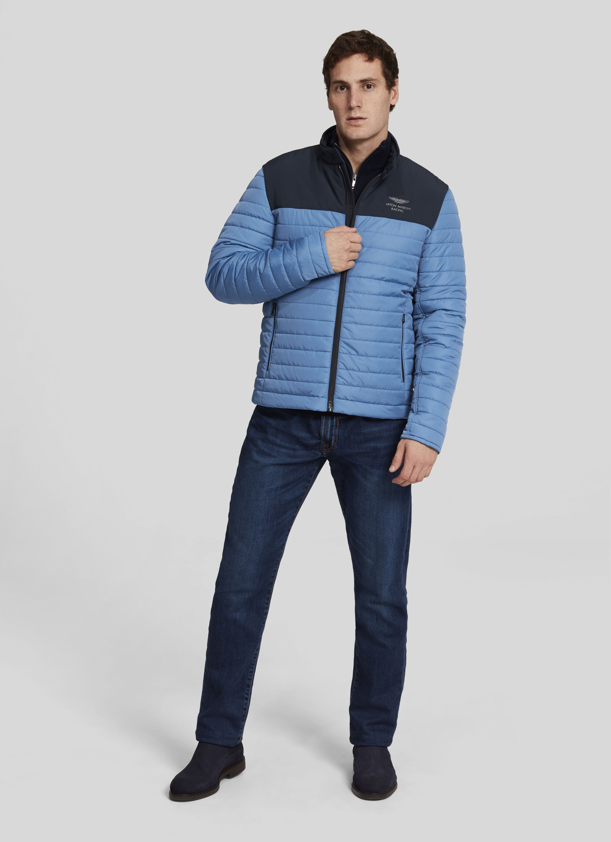 aston martin racing men's quilted moto jacket | large | navy/pwd blue