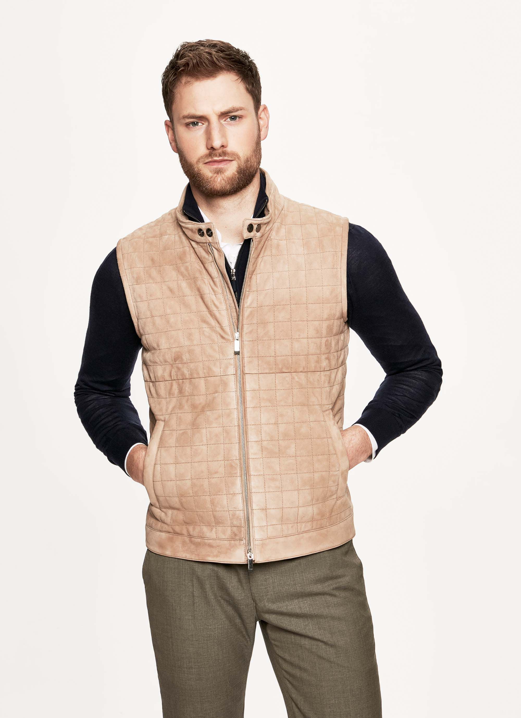 aston martin by hackett men's box-quilted suede gilet | 3x-large | sand