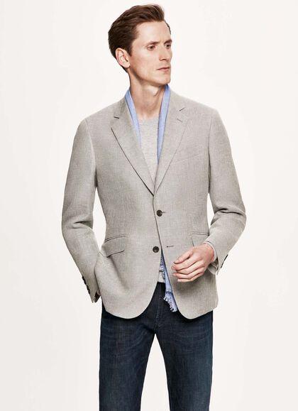72b87bc39 Textured linen, silk and cotton-blend blazer, LIGHT GREY, large. Hackett  Mayfair