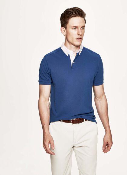 4fa98d06c Trim short sleeved cotton polo shirt, COBALT, large