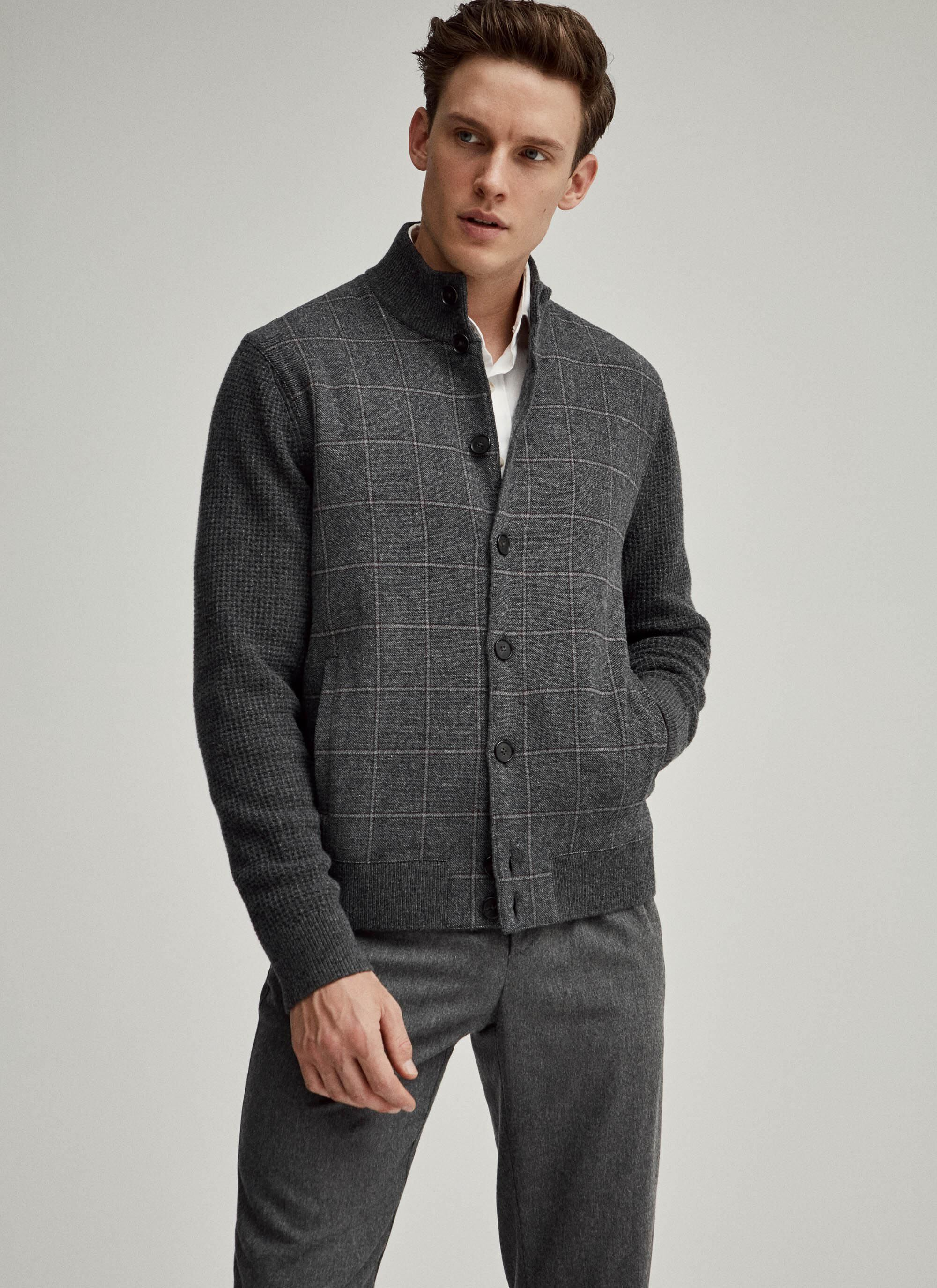 Tweed front merino wool cardigan   Hackett