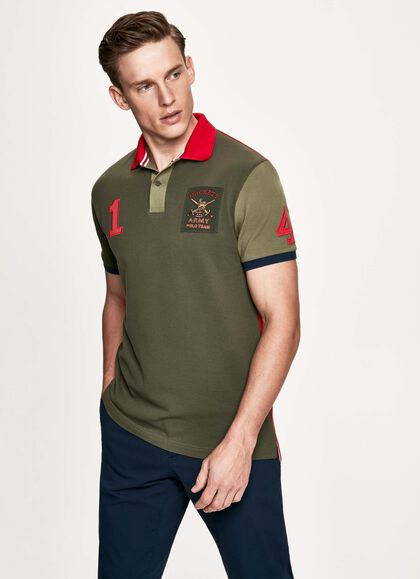 180a9927 Army number detail cotton short-sleeved polo shirt, GREEN/RED, large