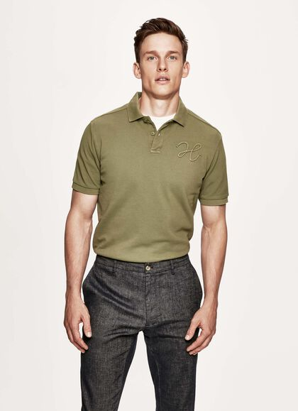 e3909c5b Logo cotton short sleeved polo shirt, MOSS GREEN, large