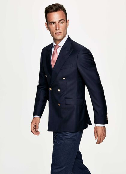 36b41c78 Navy Double-Breasted Blazer, NAVY, large. Hackett London. Navy  Double-Breasted Blazer