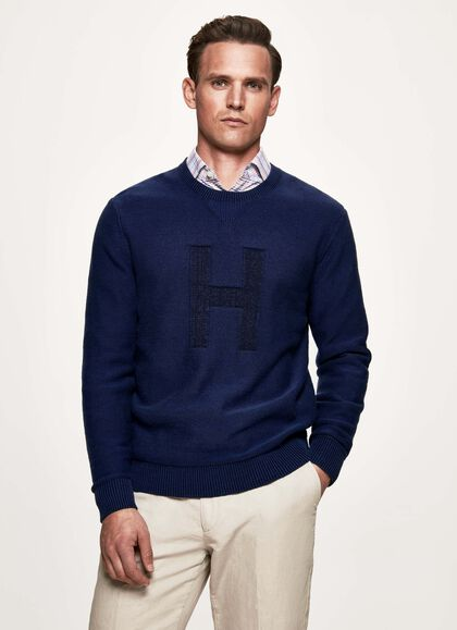 9f2d37a0ff86b9 H plaited crew knitwear, NAVY/NAVY, large. Hackett London. H plaited crew  knitwear