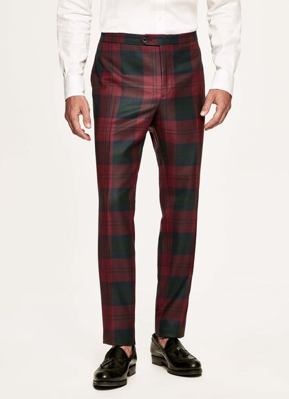 86fce3f2c346e6 Tartan wool evening trousers, RED/GREEN, large