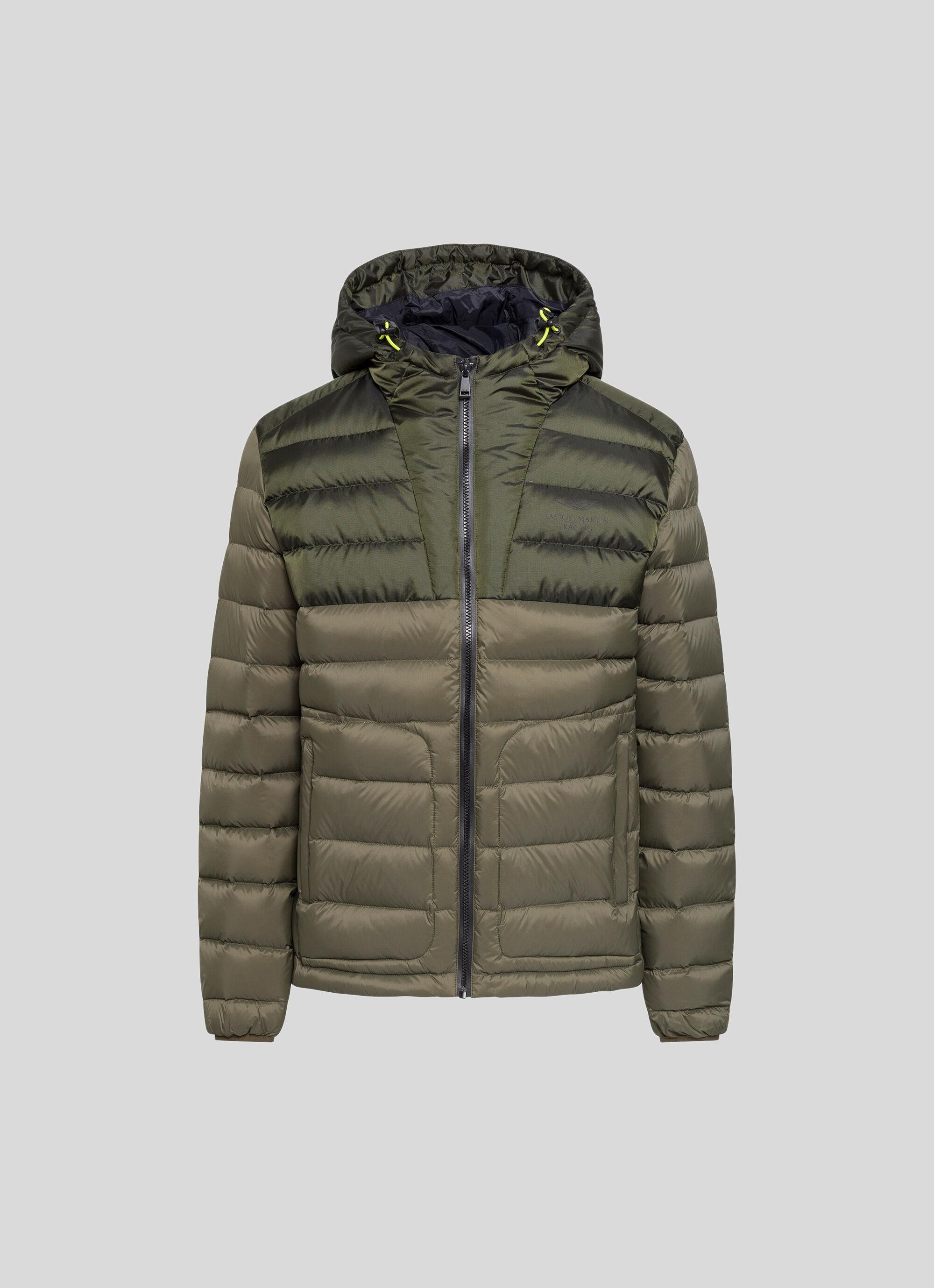 aston martin racing men's water-repellent hooded ski jacket | x-small | dark olive green