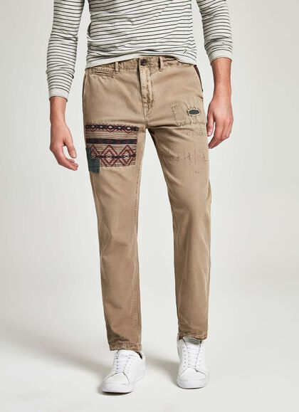 efc6aa155ec51 Distressed detail cotton chino trousers, SAND, large