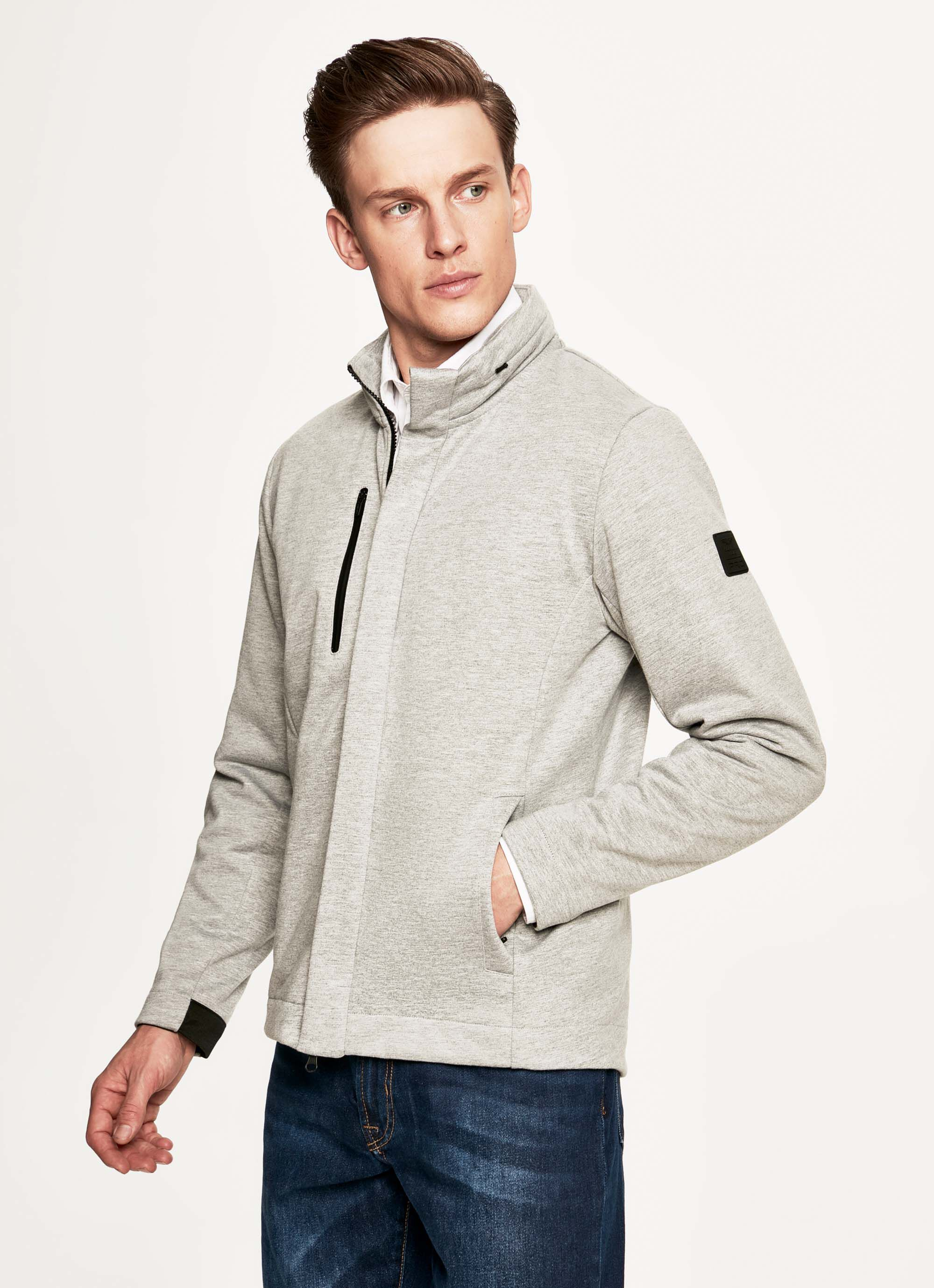 aston martin racing pro men's cotton-blend bonded jersey zip front sweater | 2x-large | pearl grey