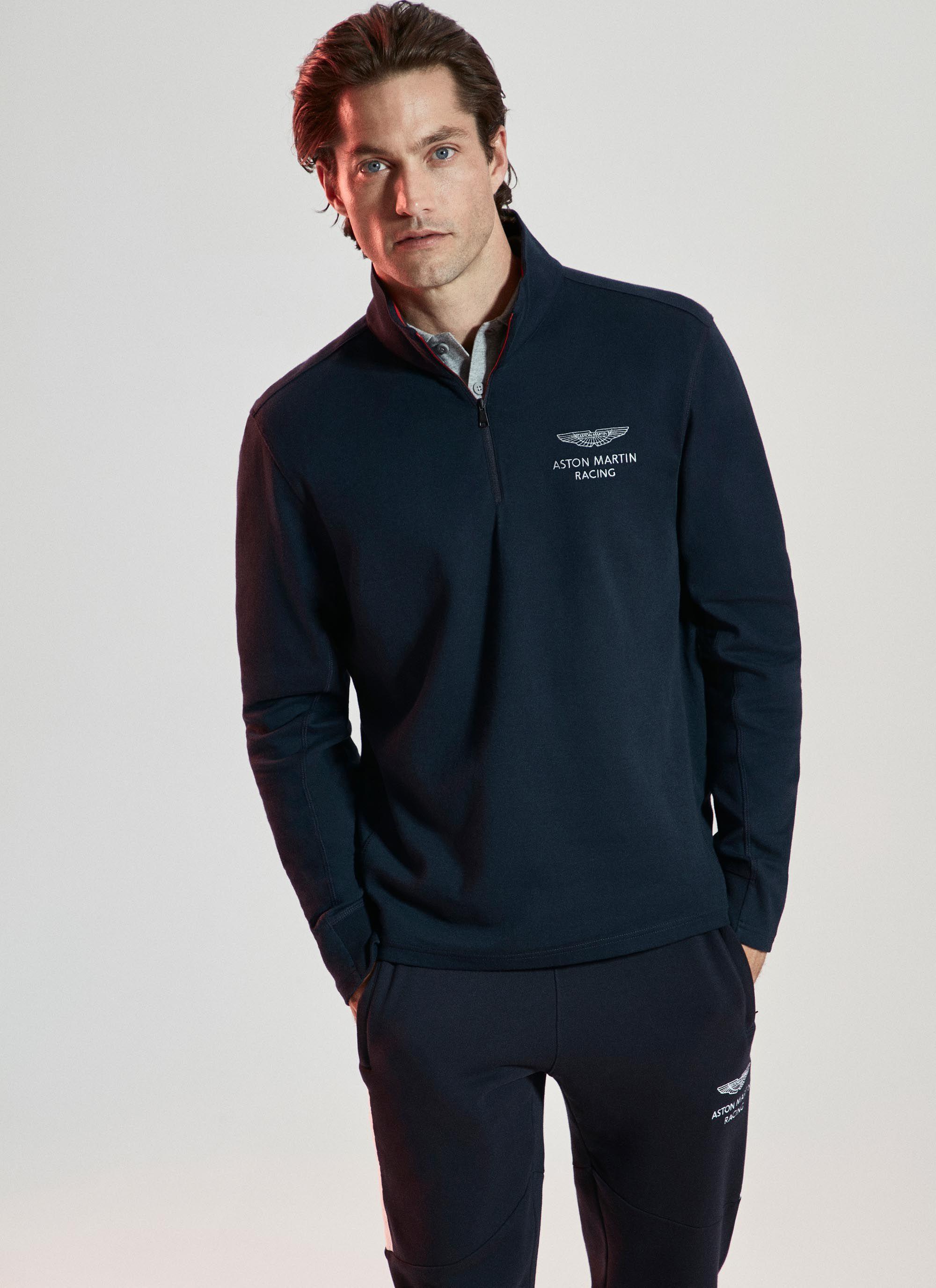 aston martin racing men's cotton jersey half zip sweater | x-small | navy