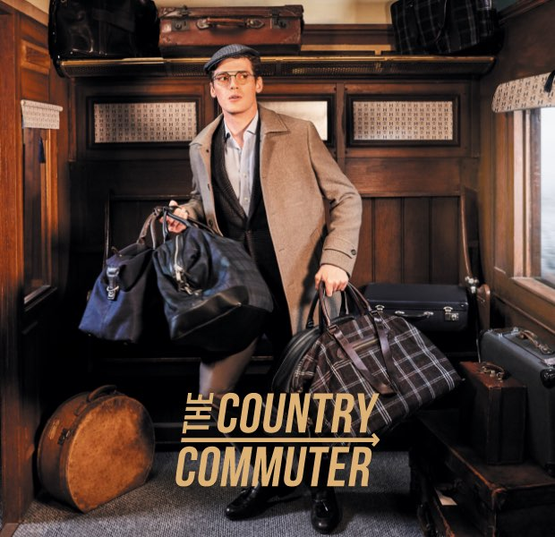The country commuter is one of the 12 gentlemen of christmas wearing Hackett London clothing