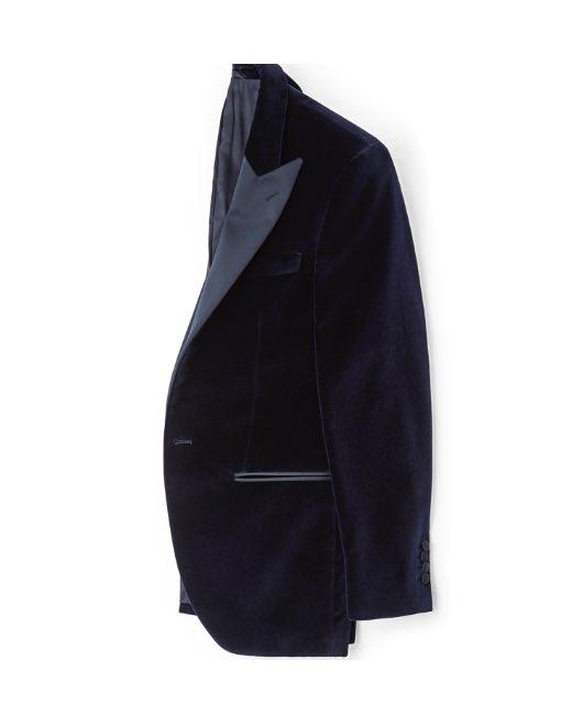 Navy Peak Lapel Velvet Jacket
