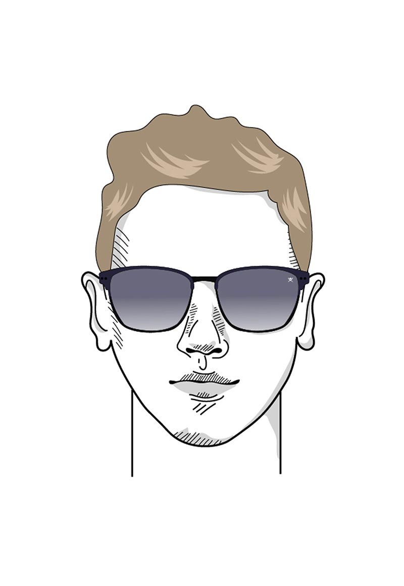 Illustration of a male round face in sunglasses