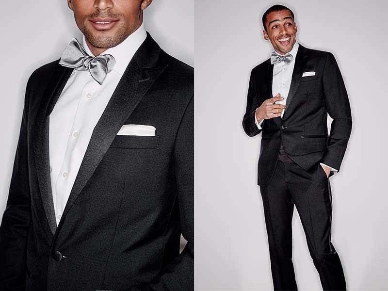 Split shot of man in black tie, one smiling and one close up