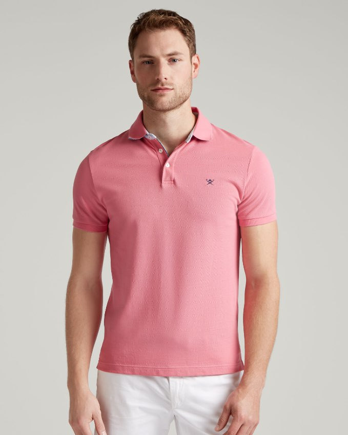 Hackett Man Wearing Pink Polo Shirt