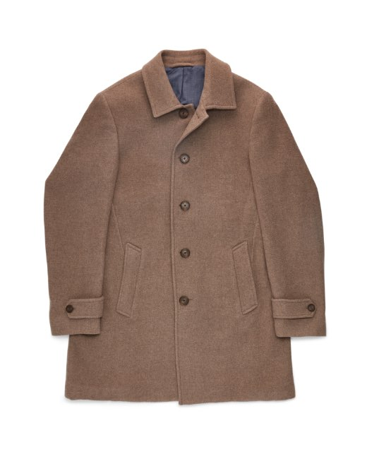 Washed wool twill coat