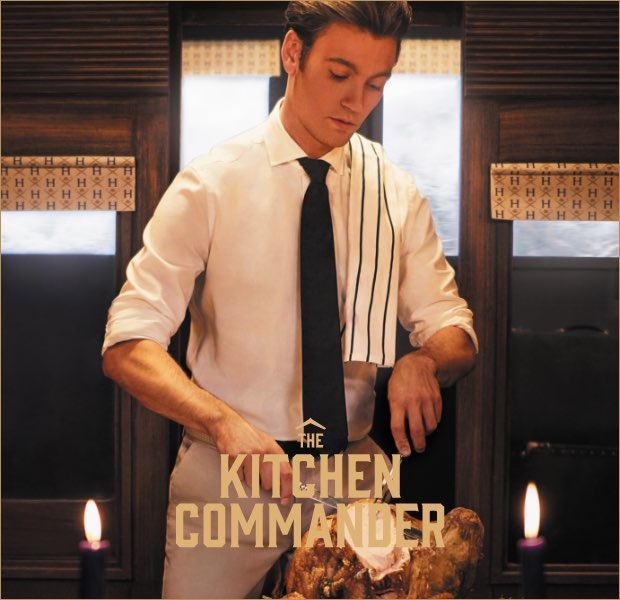 The kitchen commander is one of the 12 gentlemen of christmas wearing Hackett London clothing