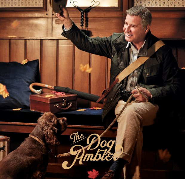 The dog ambler is one of the 12 gentlemen of christmas wearing Hackett London clothing