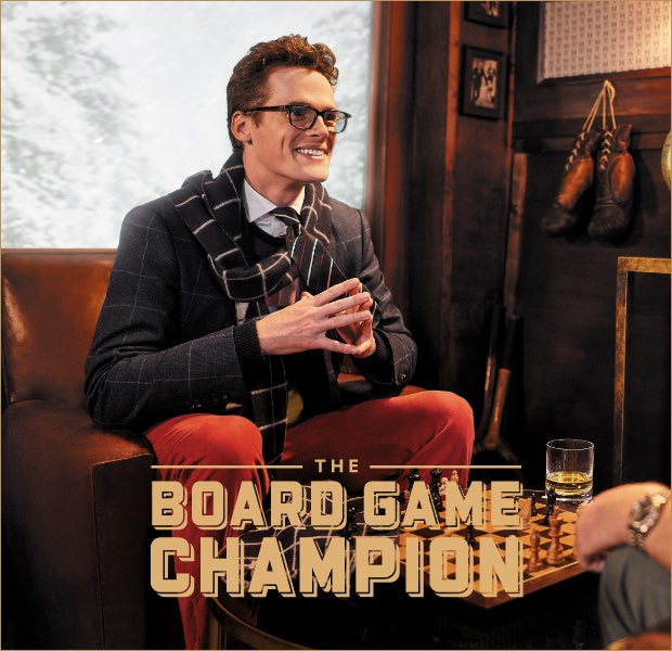 The board game champion is one of the 12 gentlemen of christmas wearing Hackett London clothing
