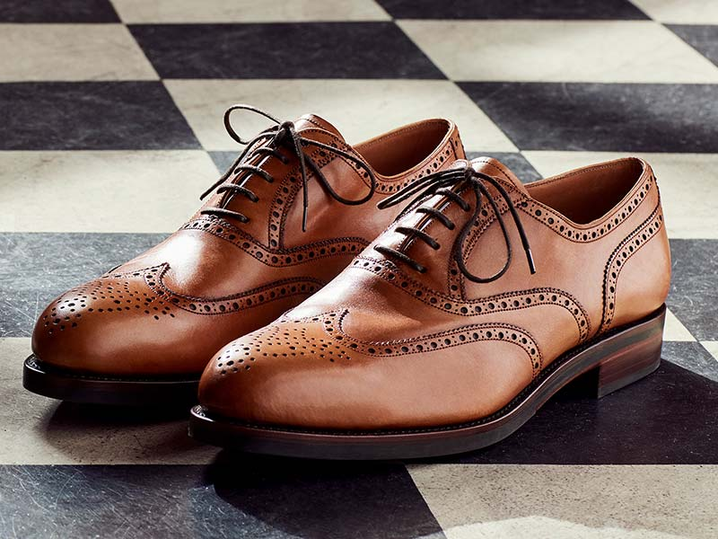 brogues on checkered floor