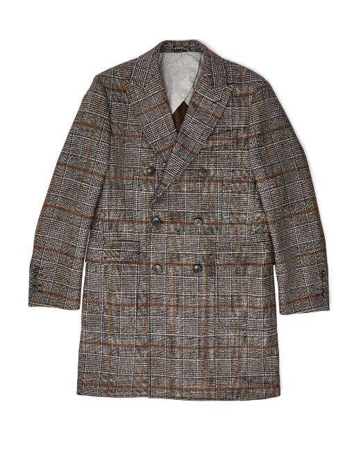 Glen check wool coat