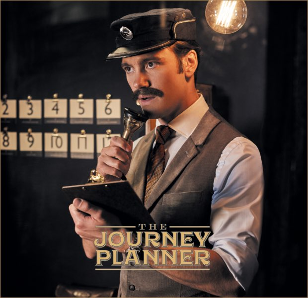 The journey planner is one of the 12 gentlemen of christmas wearing Hackett London clothing