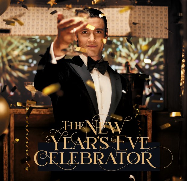 The new year's eve celebrator is one of the 12 gentlemen of christmas wearing Hackett London clothing
